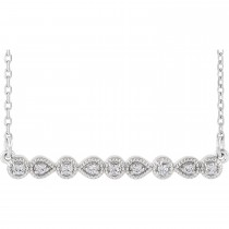 Diamond and Milgrain Bar Necklace White