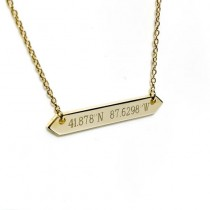 Chicago Coordinates Yellow Gold Bar Necklace