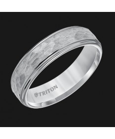 6MM Hammered Step Edge Tungsten Wedding Band - Perspective