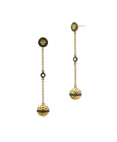 Lattice Motif Axis Drop Earrings