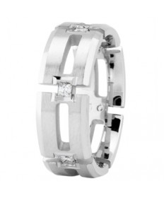 Beveled Cut Out Diamond Ring - Platinum