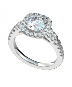 Tapered Shank Double Row Cushion Halo Engagement Ring - Platinum
