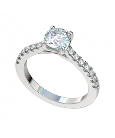 Faux Trellis Split Prong Scalloped Engagement Ring - Platinum