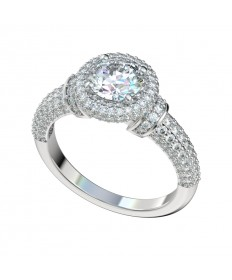 Micropave Five Row Halo Engagement Ring - Platinum