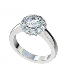 Shared Prong Closed Cathedral Halo Engagement Ring - Platinum