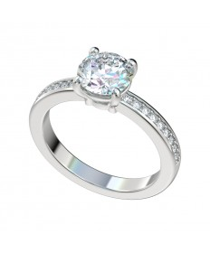 Bead Bright Four Prong Basket Engagement Ring - Platinum