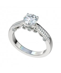 Four Prong Channel Decorative Gallery Engagement Ring - Platinum