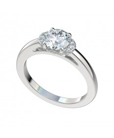 Half Moon Plain Shank Halo Engagement Ring - Platinum