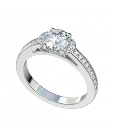 Half Moon Bead Bright Halo Engagement Ring - Platinum
