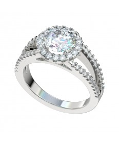 Split Shank Scalloped Halo Engagement Ring - Platinum
