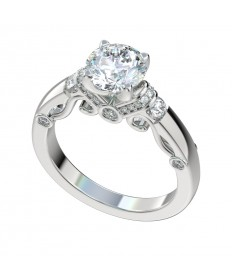 Diamond Shoulders Scroll Gallery Engagement Ring - Platinum