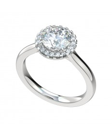 Faux Trellis Plain Shank Halo Engagement Ring - Platinum