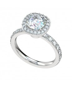 Shared Prong Filigree Gallery Halo Engagement Ring - Platinum