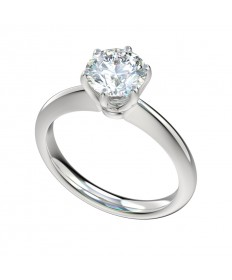 Six Prong Cathedral Solitaire Engagement Ring - Platinum