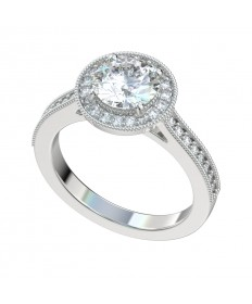 Milgrain Diamond Shank Halo Engagement Ring - Platinum