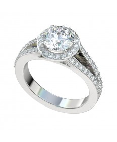 Split Shank Halo Engagement Ring - Platinum