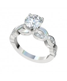 Faux Trellis Cross-Over Twist Engagement Ring - Platinum