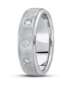 Three Diamond Step Edge Wedding Ring - Platinum