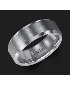 8MM Triton Gray Tungsten Beveled Edge Wedding Band - Perspective