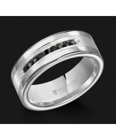 8MM Triton Black Diamond Silver Inlay Wedding Band - Perspective