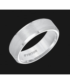 7MM Triton White Tungsten Beveled Edge Wedding Band - Perspective