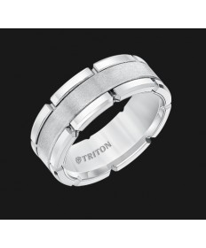 8MM Triton White Tungsten Brick Band - Perspective