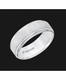8MM Triton White Tungsten Double Step Edge Wedding Ring - Perspective