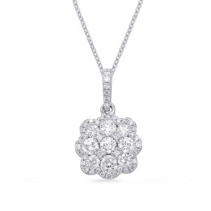 Diamond Halo Cluster Pendant