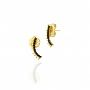 Black Stone Pave Spiked Climber Earrings