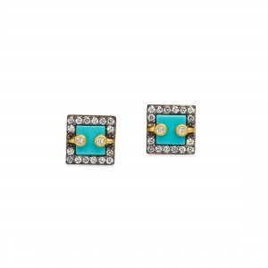 Mother of Pearl Pavé Framed Stud Earrings