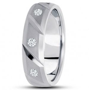 Angled Brick Diamond Wedding Ring - Platinum