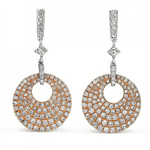 Rose Gold Circular Diamond Dangle Earrings