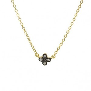 Mini Clover Yellow Gold Plate Necklace
