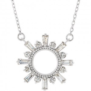 Diamond Baguette Circle Necklace - White, Rose or Yellow