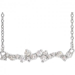 Diamond Scatter Bar Necklace White