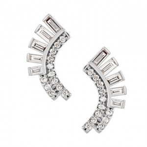 Diamond Curved Fan Earrings - White, Rose or Yellow