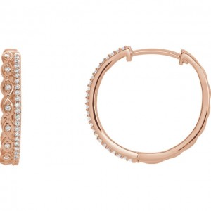 Diamond Hoops with Double Row Rose