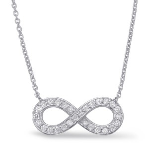 14K White Gold Diamond Infinity Necklace