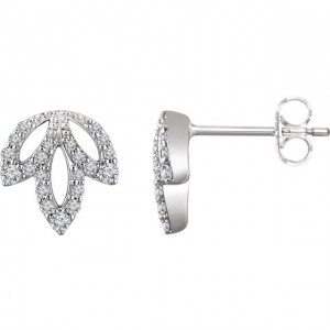 Diamond Leaf Earrings - 14k White Gold
