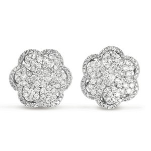 Floral Pave Cluster Round Diamond Earrings