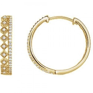 Diamond Hoops with Double Row Yellow