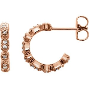 Diamond Small Huggie Hoops Rose