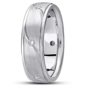 Wave Groove Diamond Wedding Ring - Platinum