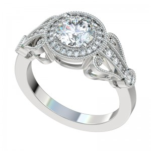 Vintage Scroll Milgrain Halo Engagement Ring - Platinum