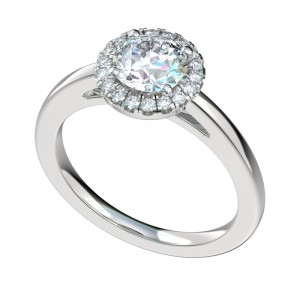 Scalloped Plain Shank Halo Engagement Ring - Platinum
