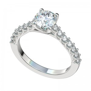 Shared Prong Cathedral Trellis Engagement Ring - Platinum