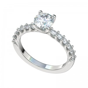 Shared Prong Reverse Trellis Engagement Ring - Platinum