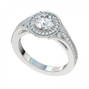 Vintage Flush Filigree Halo Engagement Ring - Platinum