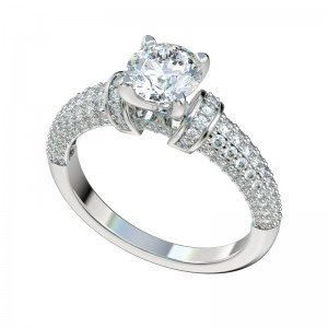 Pave Cluster Diamond Shoulders Engagement Ring - Platinum