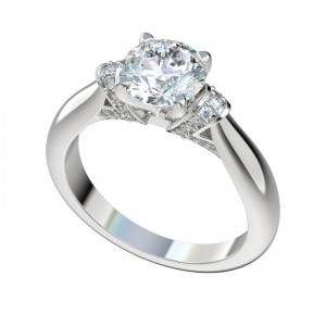 Tapered Band Bead Bright Shoulders Engagement Ring - Platinum